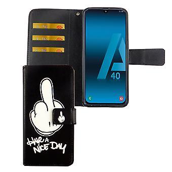 Samsung Galaxy A40 Caso De Funda Funda de Protección de Caso Flip Caja con Bandeja de Tarjeta Tener un buen día