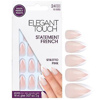 Elegante Touch falsche Nägel - Stiletto pink (24 Pack, 10 Größen)