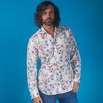 CLAUDIO LUGLI Natur Szene Print Shirt auf gewebter Baumwolle