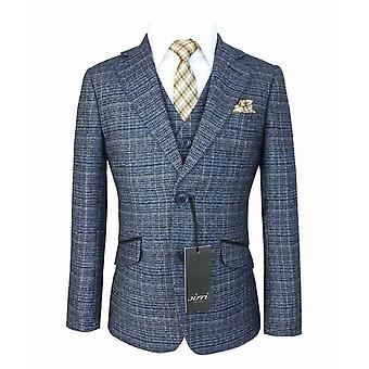 Boys Sky Blue Tweed Checkered Page Boy Suit
