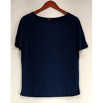 Iman T-Shirt Top Slip Into Slim Basic Tee Blue Womens 460-386