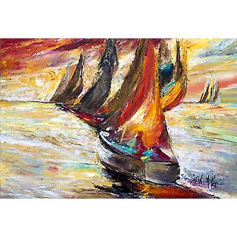 Carolines Treasures  JMK1062PLMT Red Sails Sailboat  Fabric Placemat