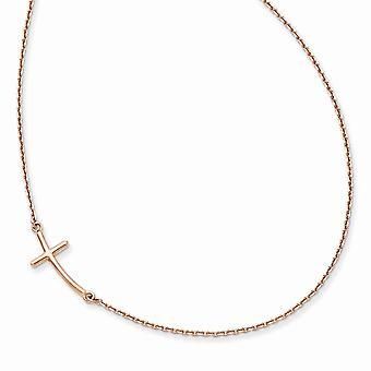 14k Rose Gold Gepolijst kreeft klauw sluiting kleine zijwaarts gebogen religieuze geloof kruis ketting 19 Inch Sieraden Geschenken f