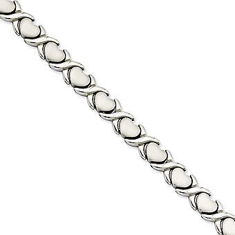 Edelstahl gebürstet poliert Falten über Stampato 7,5 Zoll Armband Schmuck Geschenke für Frauen