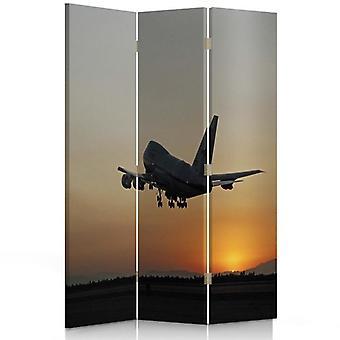 Raumteiler, 3 Paneele, Doppelseitig, 360 ° Drehbar, Leinwand, Flugzeug bei Nacht