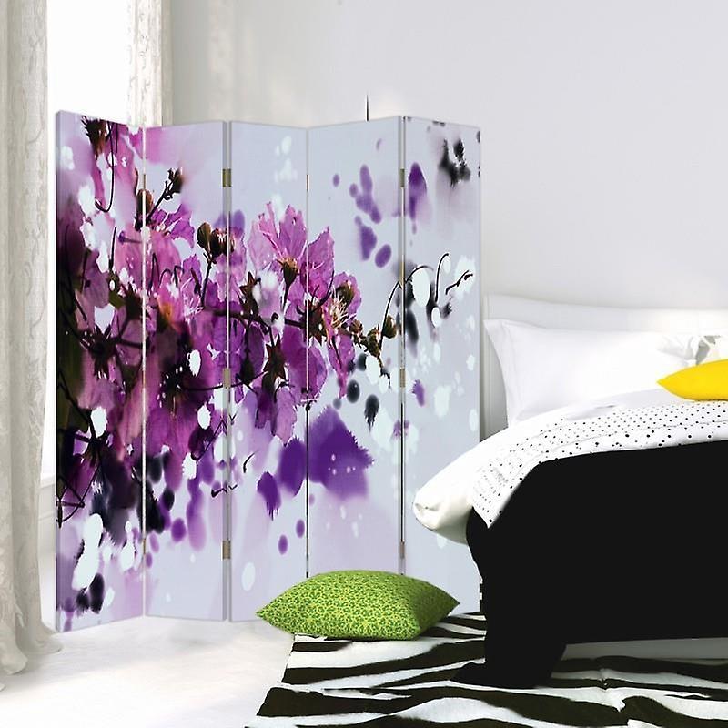 Diviseur de chambre, 5 panneaux, double-sided, 360 rotatable, toile, fleurs