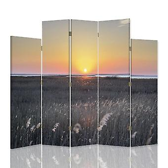 Dekorative Raumteiler, 5 Paneele, doppelseitig, 360 ° Drehbare Leinwand, Sonnenuntergang über dem Schilf 2