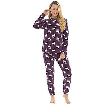 Ladies Reindeer Printed Design Microfleece Long Twosie Sleepwear - Violetti - 8-10