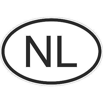 Autocollant Sticker Drapeau Oval Code Pays Voiture Bas Hollande Hollandais Nl