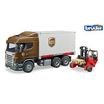 Camion Bruder 3581 Scania UPS avec chariot élévateur