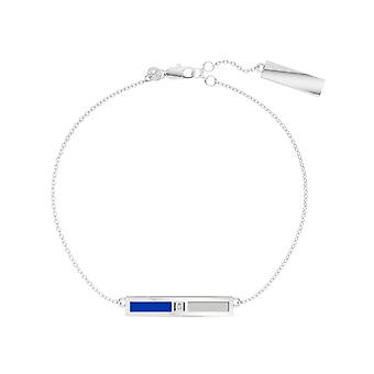 University Of Kentucky Sterling Silver Diamond Bar Chain Bracelet In Blue and Grey