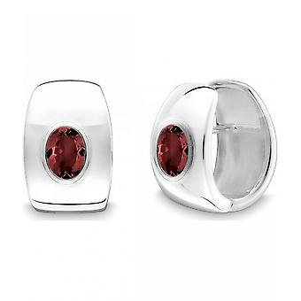 QUINN - Hoop earrings (pair) - women - silver 925 - gemstone - garnet - 36864963