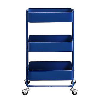 Carrinho de metal de 3 níveis com frame tubular e armazenamento espaçoso, azul