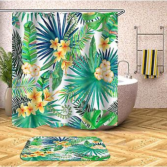 Yellow Tropical Flowers Shower Curtain