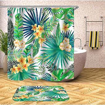 Gele tropische bloemen douche gordijn