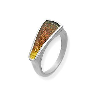 Sterling Silver Traditional Scottish Heirloom Ember Enamel Hand Crafted Design Ring