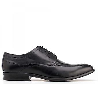 Base London Gilmore Mens Waxy Leather Derby Lace Ups Black