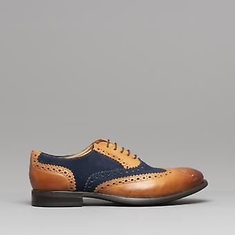 Mister Carlo Monty Ii Mens Leather Brogue Lace Ups Tan/navy