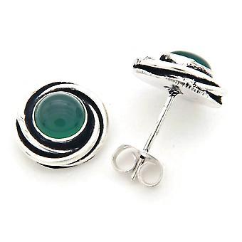 Ohrstecker Ohrringe versilbert silbern Grüner Onyx grün (922-01-022-14)