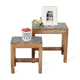 ペンギン ホーム ソリッド マンゴー ウッド ネスティング コーヒーテーブル ブラック&ホワイト レジン トップ (2 セット)
