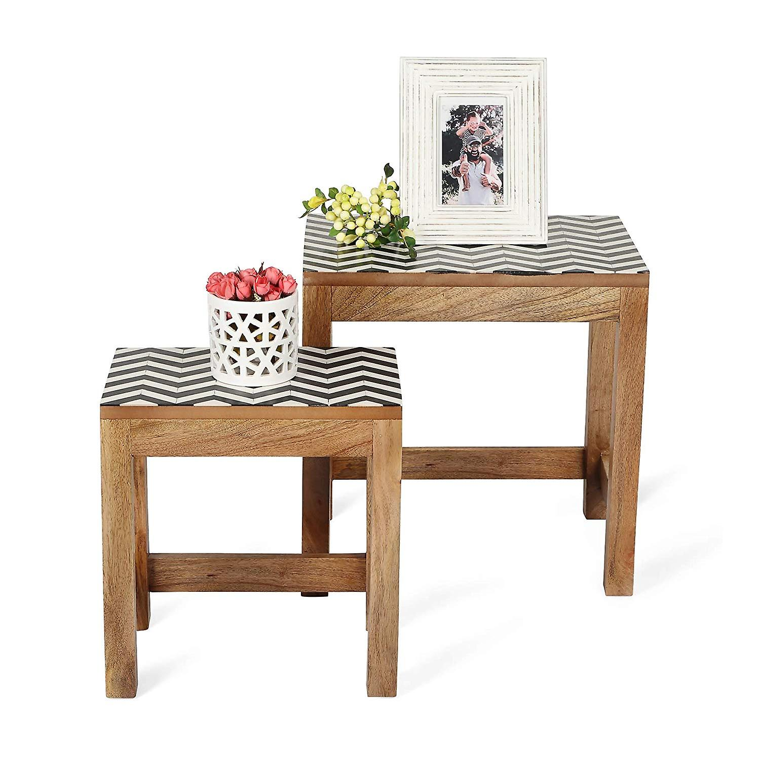 Penguin Home Solid Mango Wood Nesting Coffee Tables Black & White Resin Top (Set of 2)