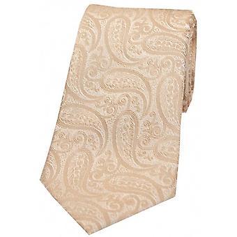 David van Hagen klassieke Paisley zijden stropdas-beige