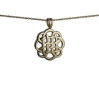 9ct Gold 20mm round celtic Pendant with a 1.1mm wide cable Chain 20 inches