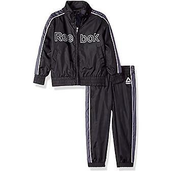 Reebok Boys' Toddler Nylon Retro Windsuit Zip Up Jacket and Jog Pant, Black, 3T