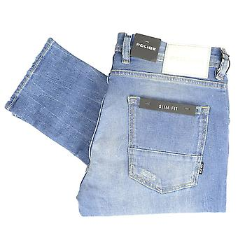 883 Police Deniro Slim Fit Stone Wash Distressed Jeans