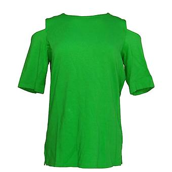 Belle by Kim Gravel Women's Top Triple Luxe Elbow Sleeve Green A301607