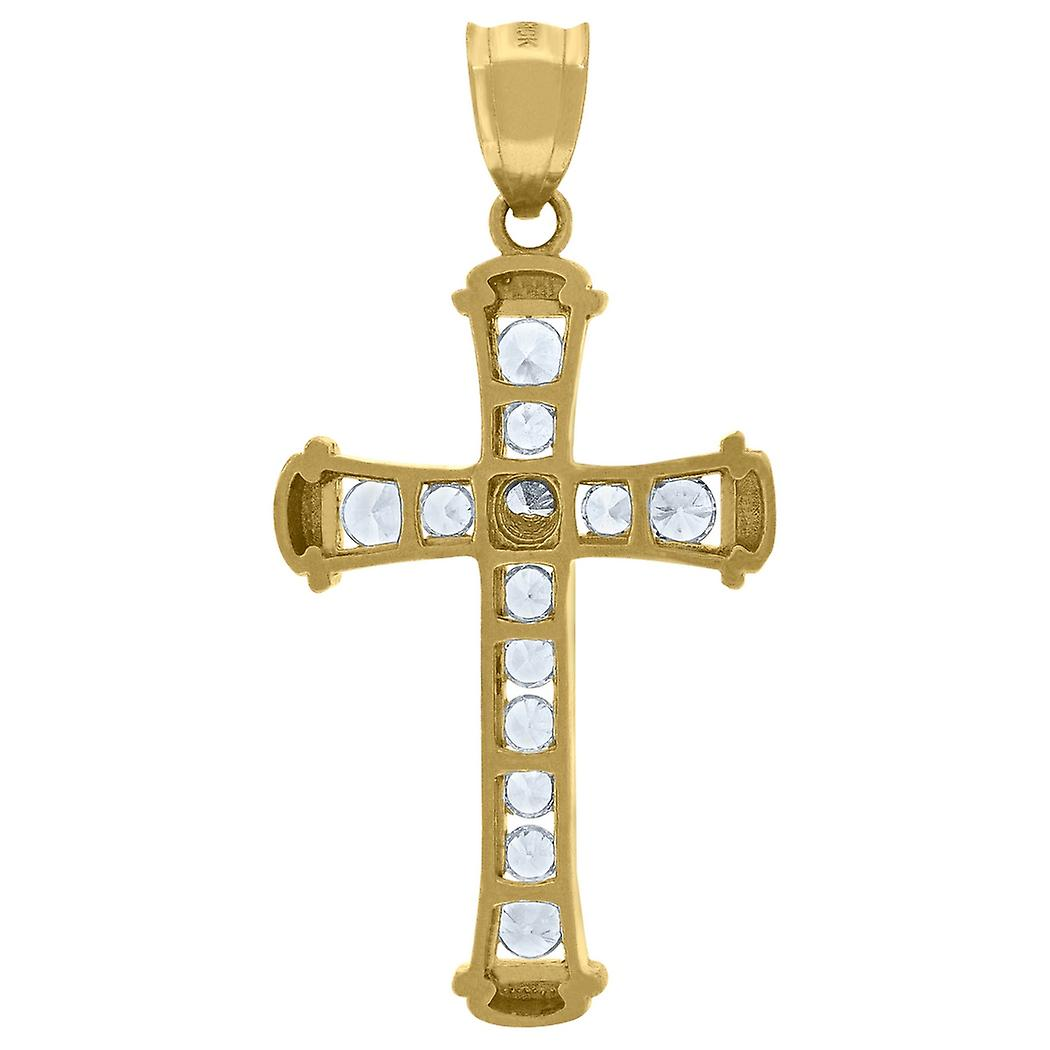 10k Yellow Gold Womens Mens Round Cubic Zirconia CZ Cross Religious Charm Pendant Necklace Measures 41.8x21 Jewelry Gift