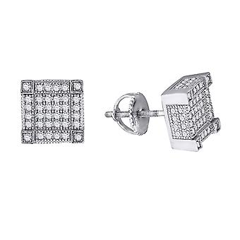 925 Sterling Silver Womens Mens Unisex Round CZ Cubic Zirconia Simulated Diamond Square Fashion Stud Earrings Jewelry Gi