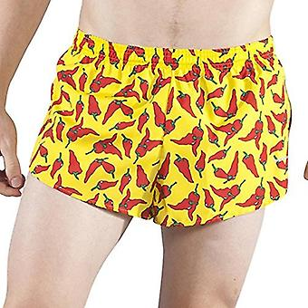 B.O.A Boa Men's Stretch Elite Printed Split Running Shorts, Yellow, Size Large