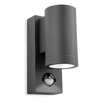 Firstlight Tubular Modern Graphite LED Sensor Utomhus Vägg Downlight