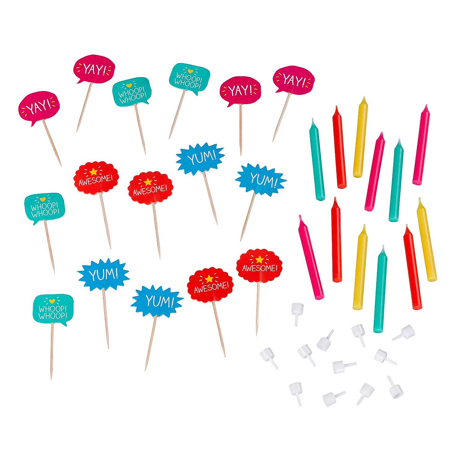 Happy Jackson Cake Toppers Food Flags & Candles Set