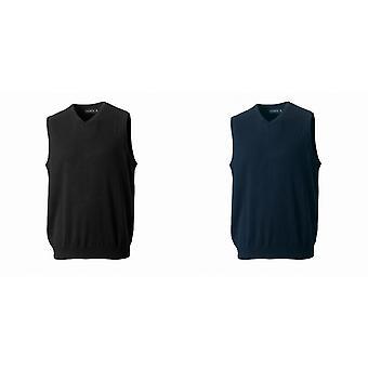 Russell colección Mens V-cuello mangas punto jersey Top / puente