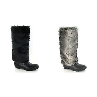 Paikalla naisten/naisten tekoturkiksia ylempi Wellington Boots