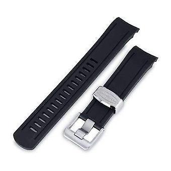 Strapcode rubber watch strap 22mm crafter blue - black rubber curved lug watch band for seiko skx007