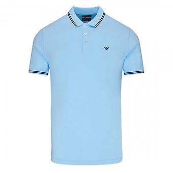 Emporio Armani Light Blue Stretch Short Sleeve Polo T-Shirt 8N1F30 1JPTZ