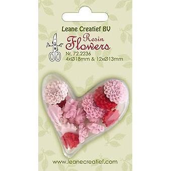 LeCrea-שרף פרחים ורדים & amp; פאוני ורוד-אדום 72.2236 4x 18mm + 12x 13mm