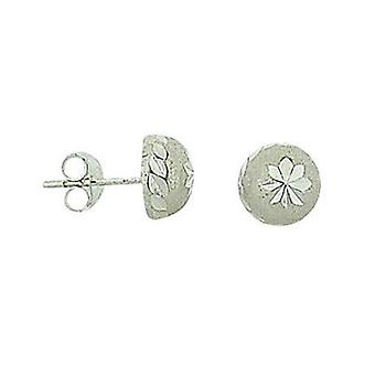 TOC Sterling Silver Brushed & Engraved Half Sphere Stud Earrings