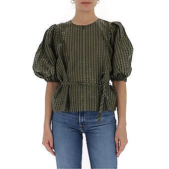 Ganni F4214861 Women's Green Cotton Blouse