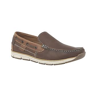 Roamers Brown Leather Slip On Apron Tab Moccasin Leisure Shoe
