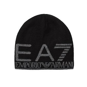 EA7 Men's Black Knitted Beanie Hat