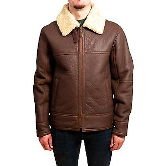 Nordvek Mens Sheepskin Jacket - Aviator Nappa Leather Flying Bomber Coat # 701-100