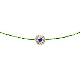 Choker Duchess Sapphire 18K Goud en Diamanten, op Thread - Rose Gold, NeonGreen