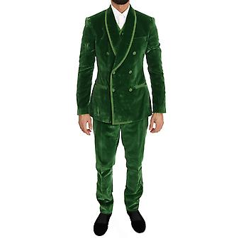 Traje de terciopelo verde delgado de doble pecho