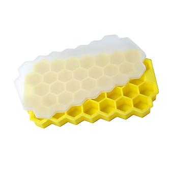 Ice cube tray, mold with lid, easy-release ice maker, 37-cell honeycomb shape, food grade for cocktails, whiskey, drinks, juice