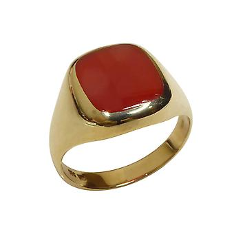 Gold agate cachet ring