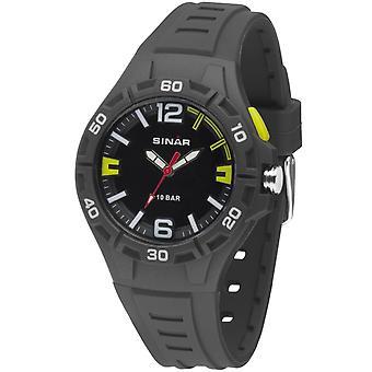 SINAR Youth Watch Montre-bracelet Analogique Quartz Boys Silicone Band XB-37-1 jaune anthracite